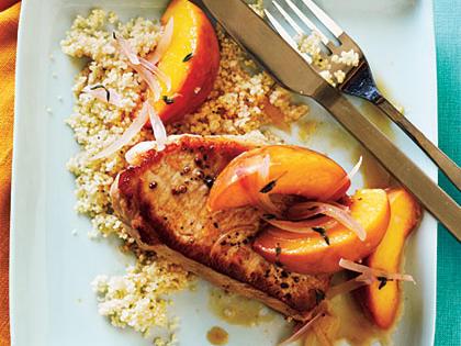 Skillet Pork Chop Saute with Peaches