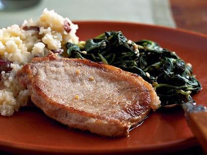 Pork Chops with Lemon Spinach