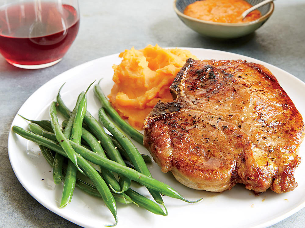 Moroccan-Spiced Pork Chops with Mashed Sweet Potatoes