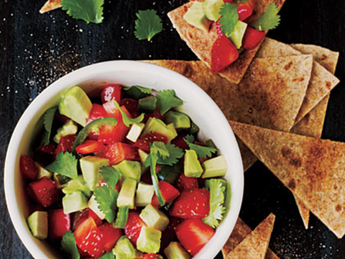 Strawberry-Avocado Salsa with Cinnamon Tortilla Chips