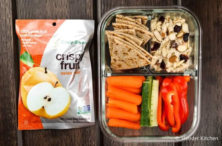 Bistro box with cranberry almond chicken salad and veggies.