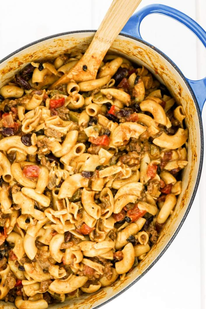 One Pot Easy Chili Mac with pasta, beans, and peppers in a large pot.