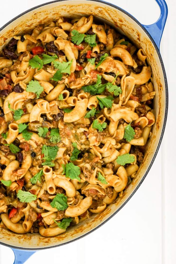 Easy One Pot Chili Mac with cilantro in a large pot.