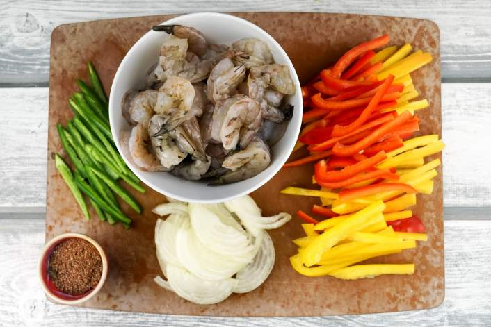 All the ingredients to make One Pan Shrimp Fajitas.