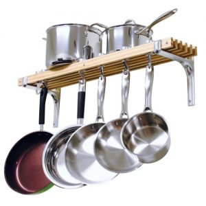 Cooks Standard Wall Mounted Wooden Pot Rack, 36 by...