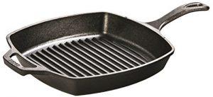 Lodge L8SGP3 Cast Iron Square Grill Pan, Pre-Seaso...