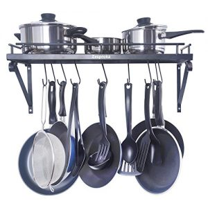 ZESPROKA Kitchen Wall Pot Pan Rack,With 10 Hooks,B...